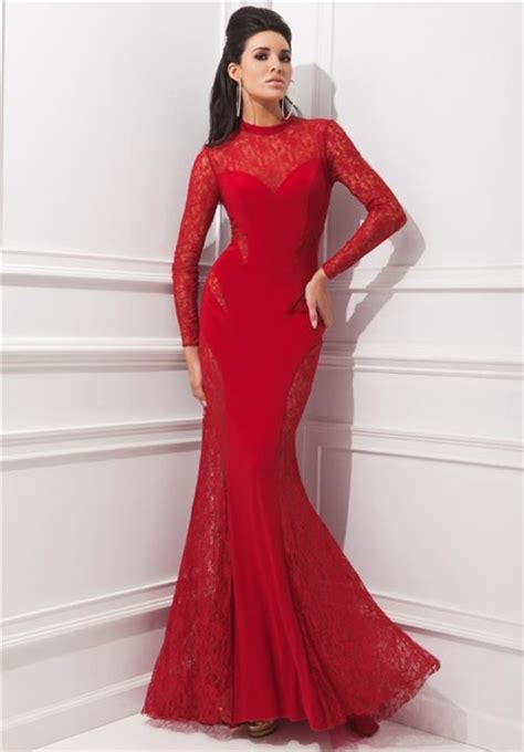 long sleeve lace prom dresses unusual mermaid high neck red chiffon lace long sleeve