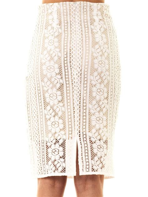 lover lace pencil skirt in white lyst