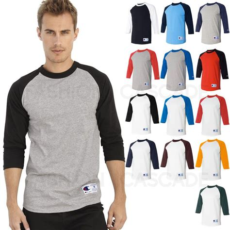 Baseball Sleeve Shirt chion mens 3 4 sleeve baseball t shirt s 3xl plain