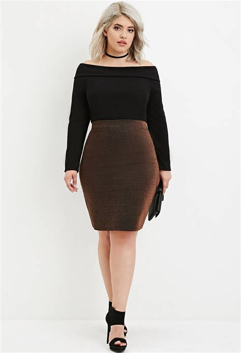lyst forever 21 plus size metallic knit pencil skirt in