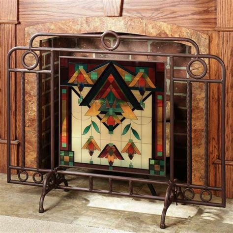 Amazing Stained Glass Fireplace Screen Designs With Stained Glass Fireplace Doors