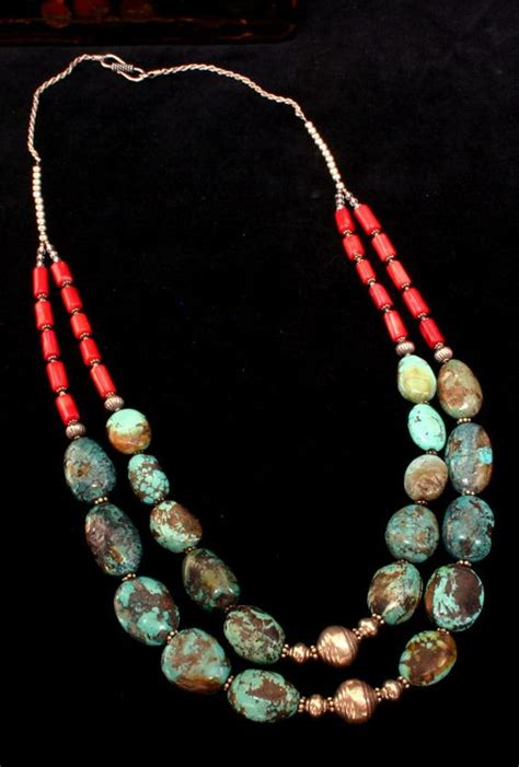 Kalung Single Necklace turquoise statement necklace southwestern jewelry multi strand turquoise and coral necklace