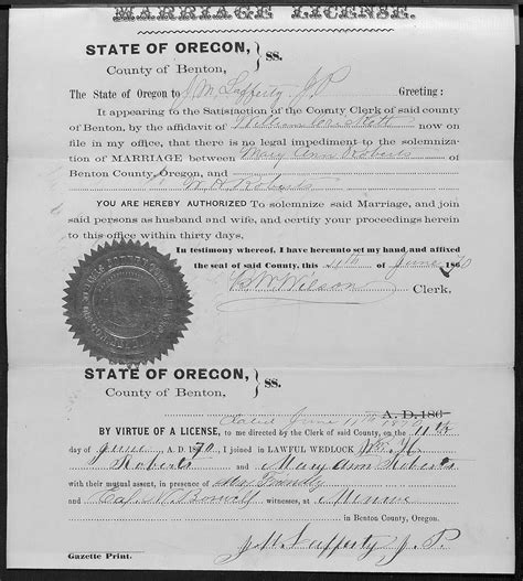 Clackamas County Marriage Records Hainings And Related Families
