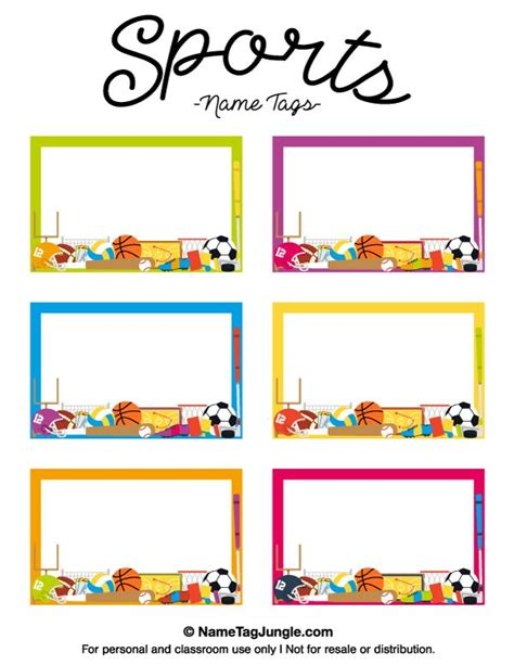 student name card template free printable sports name tags the template can also be