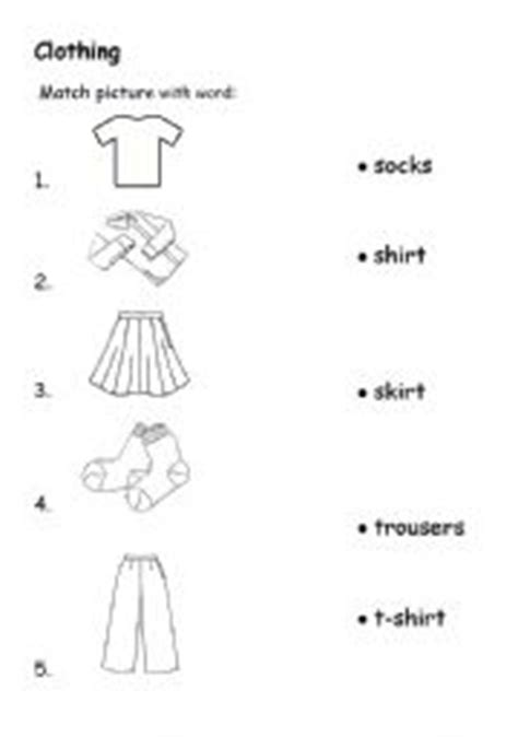 clothes matching worksheets english teaching worksheets clothes