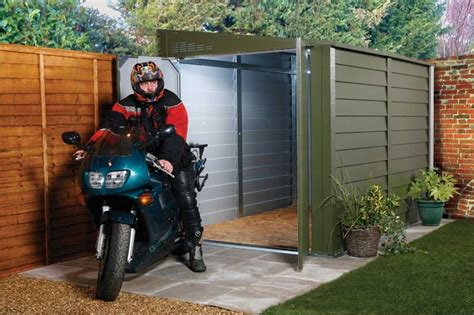 Sheds For Motorbikes by Trimetal Uk 9ft Pent Metal Motorbike Shed Garage