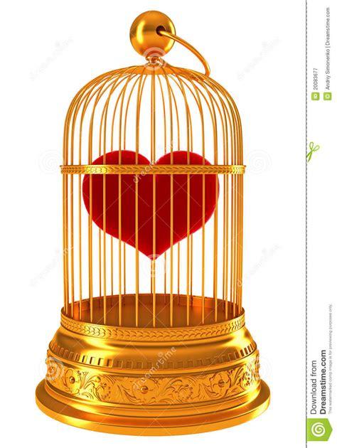 gabbia dorata imprigionato cuore rosso in gabbia dorata
