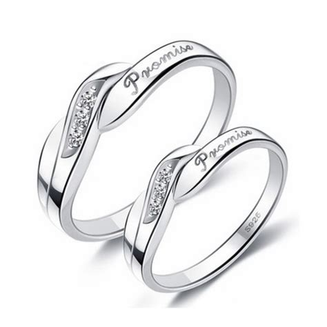 unique engraved sterling silver promise rings set of two