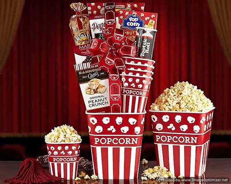 night popcorn  candy collection gift basket