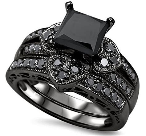 luxury wedding ring set black zircon engagement ring