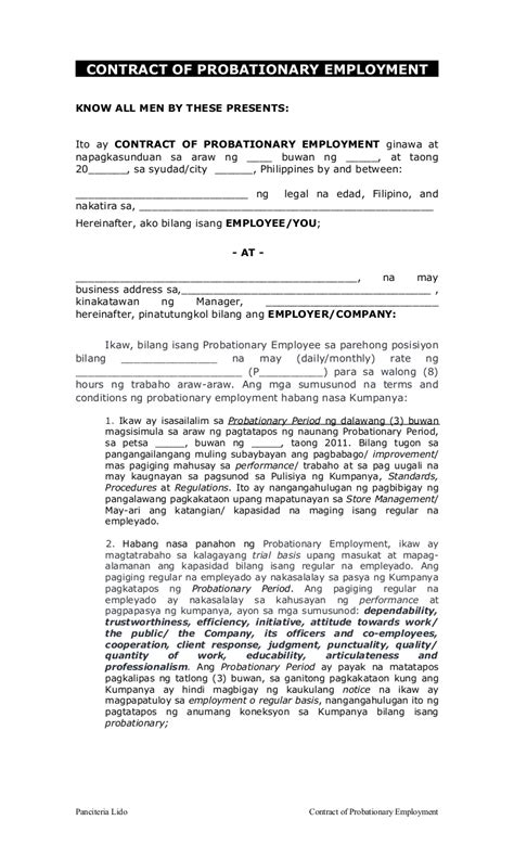 contract  probationary employment fil bf