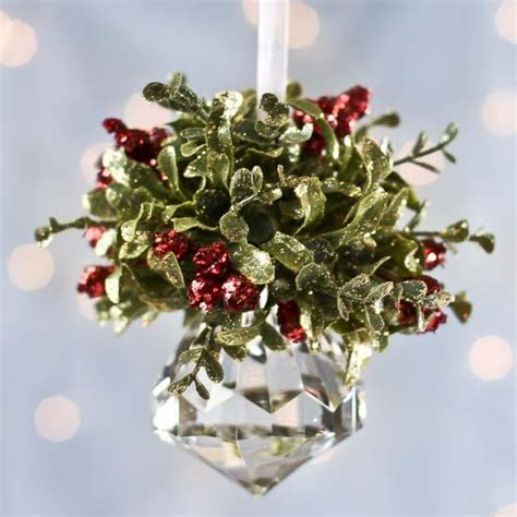 christmas mistletoe hanging acrylic faceted kissing ball