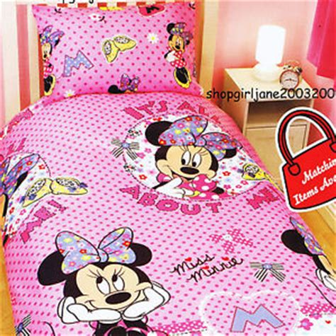 Bed Cover Minnie Ribbon Import minnie mouse disney its all about me single bed quilt doona duvet cover set ebay