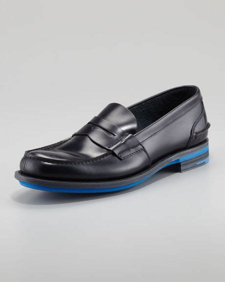 rubber soled loafers prada rubber sole loafer in black for null lyst