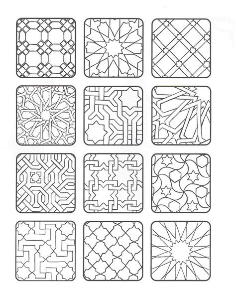 islamic tile coloring pages coloring forms of moorish tiles zillij pinterest