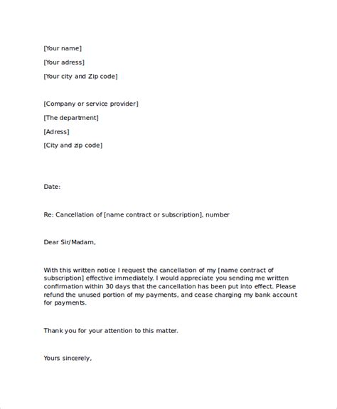 cancellation letter for sle notice letter 21 documents in pdf word