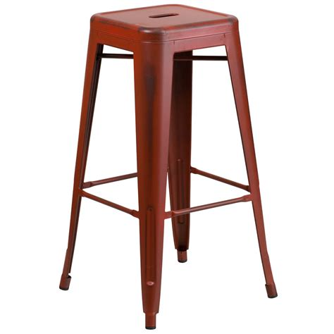 Stackable Metal Bar Stools by Distressed Stackable Metal Bar Height Stool With