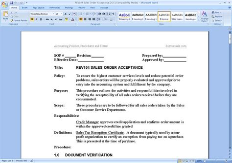 procedure manual template for word best photos of policy template for word policy and