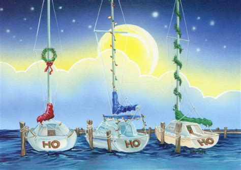 ho ho ho boats nautical holiday card  lpg