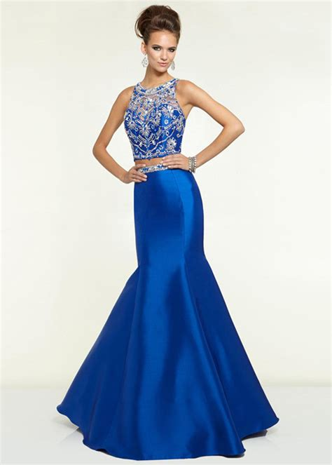 2 piece prom dresses for sale royal illusion high neck two piece beaded mermaid party