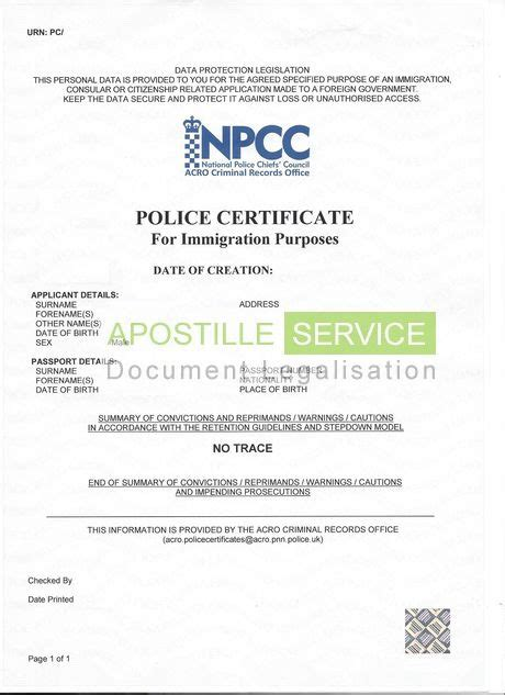 Copy Of Criminal Background Check Apostille For Criminal Record