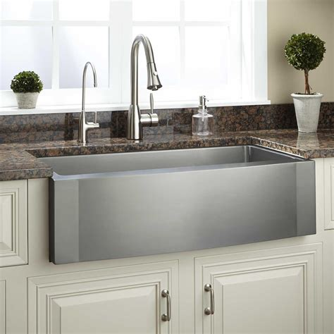 Kitchens With Farm Sinks 36 Quot Optimum Stainless Steel Farmhouse Sink Wave Apron Kitchen