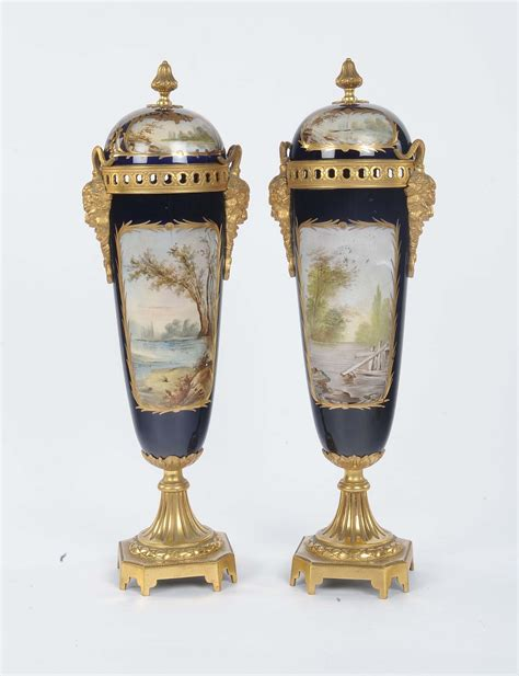 vasi porcellana coppia di vasi in porcellana policroma sevres xix secolo
