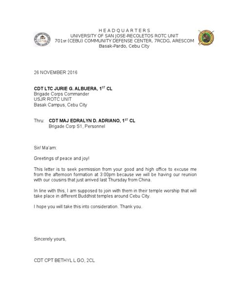 Excuse Letter For Rotc Excuse Letter