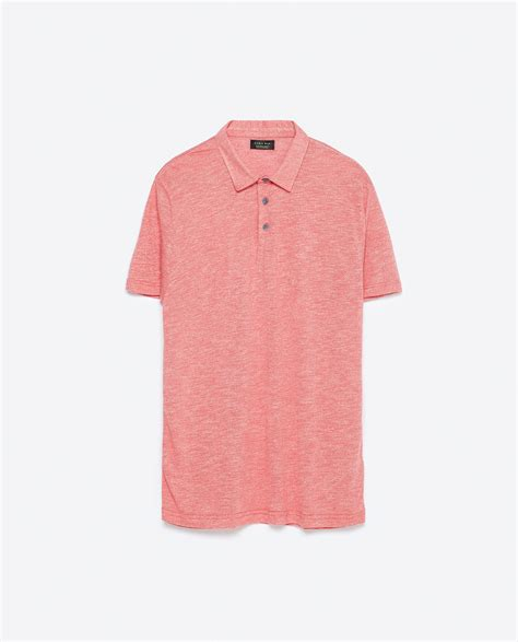 knit polo shirts zara knit polo shirt knit polo shirt in for lyst