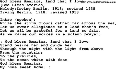 An American Song American Song Lyrics For God Bless America Land That I With Pdf