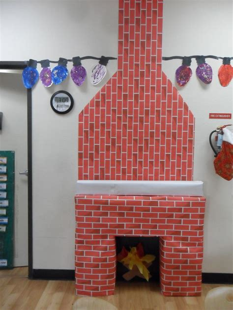 Chimney Only Fireplace - fireplace made of boxes and brick paper roll from