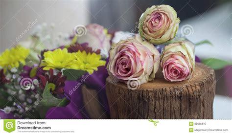 Beautiful Flower Decoration by Beautiful Flowers Decoration On The Tree Stump Stock