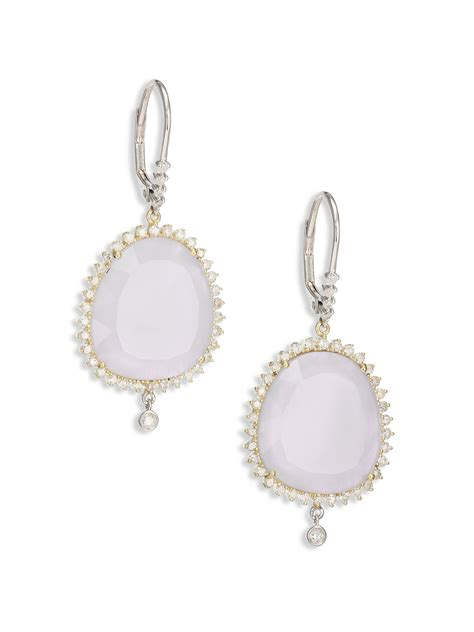 of pearl yellow earrings meira t chalcedony of pearl 14k white yellow