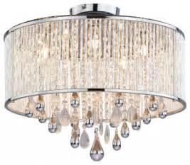 flush mount drum chandelier five light chrome clear crystals glass drum shade semi