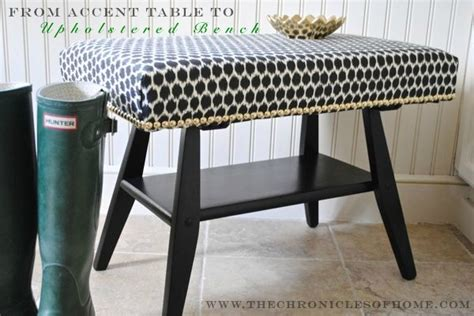 uphostered bench diy turn an accent table into an uphostered bench