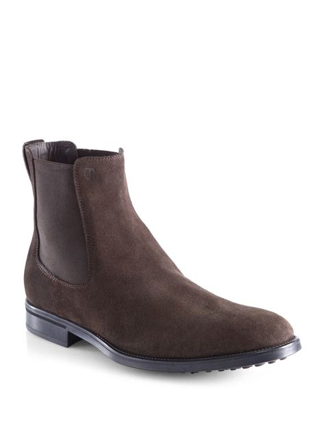 chelsea boots lyst tod s suede chelsea boots in brown for