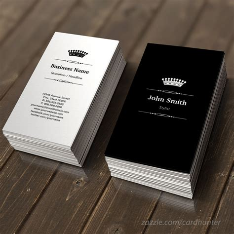 stylist elegant royal black white business card stylists