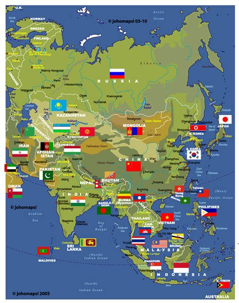 asie map map of asia johomaps