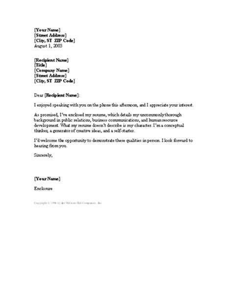 cover letter   phone conversation cover letters templates