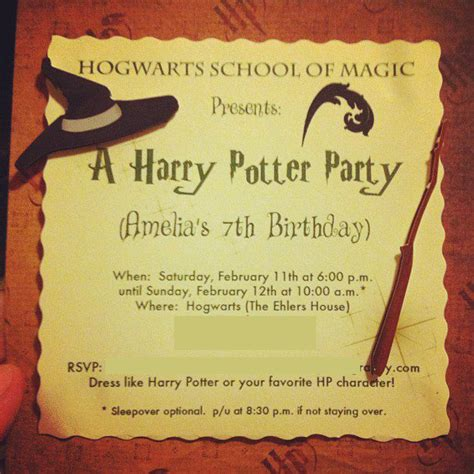 harry potter invitations template best template collection