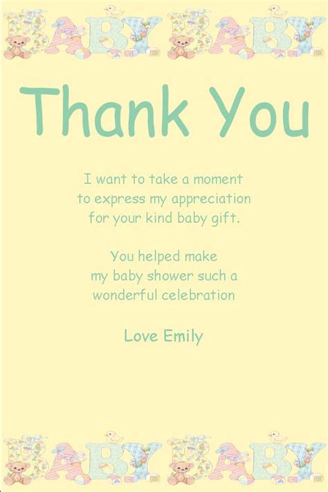 Thank You Card Sayings For Baby Shower Gifts - personalised baby shower thank you card design 10