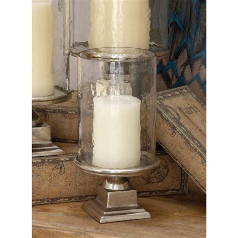 11 in silver aluminum glass hurricane candle holder 16493