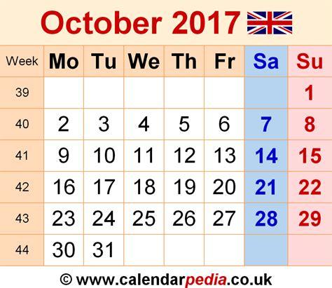 printable calendar october 2017 uk calendar october 2017 uk bank holidays excel pdf word