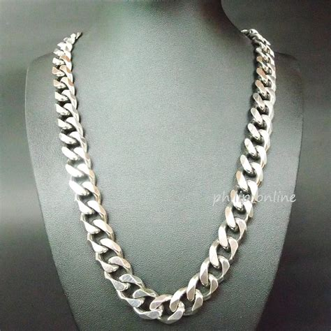 silver chains for jewelry 21 5 quot 12mm stainless steel silver heavy chain link curb