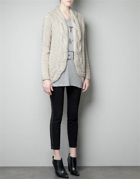 zara knit cardigan zara cable knit cardigan in lyst