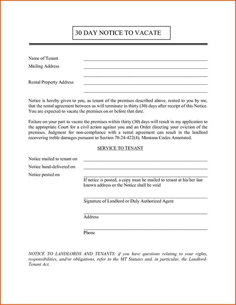 Sle Of 30 Day Notice by 30 Day Notice To Tenant General Resumes