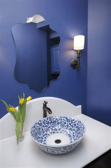 royal blue and white bathroom blue powder bath remodel traditional powder room