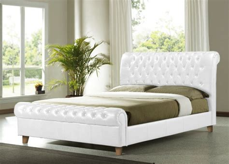 white leather king size bed time living richmond 5ft kingsize white pu leather bed
