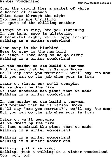 printable lyrics for walking in a winter wonderland winter wonderland by the byrds lyrics with pdf