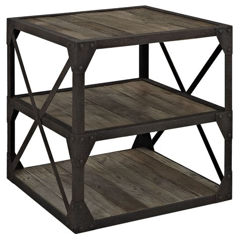 modern end table with shelves bracket industrial modern end table with pine shelves